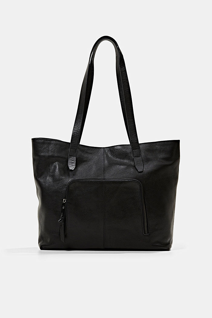 En piel: Bolo shopper con cierre magnético, BLACK, detail image number 0