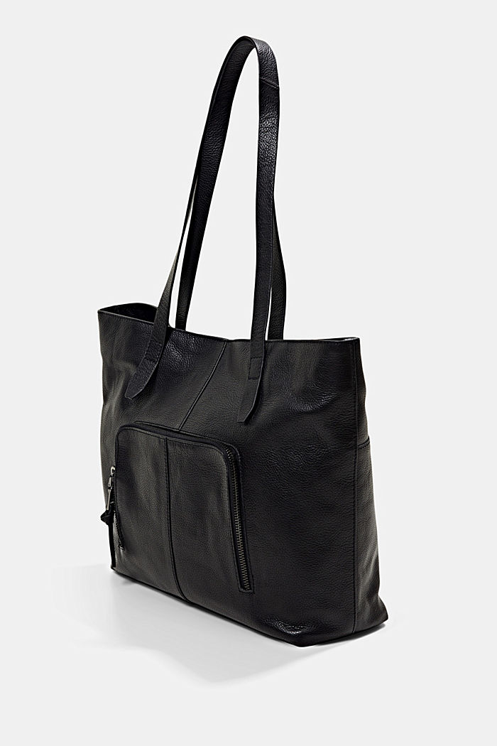En piel: Bolo shopper con cierre magnético, BLACK, detail image number 2