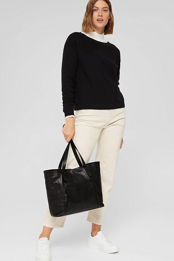 En piel: Bolo shopper con cierre magnético, BLACK, detail image number 5