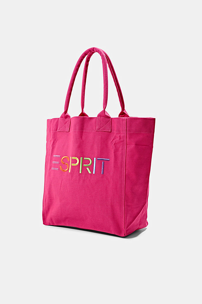 Canvas bag with logo embroidery, PINK FUCHSIA, detail image number 2