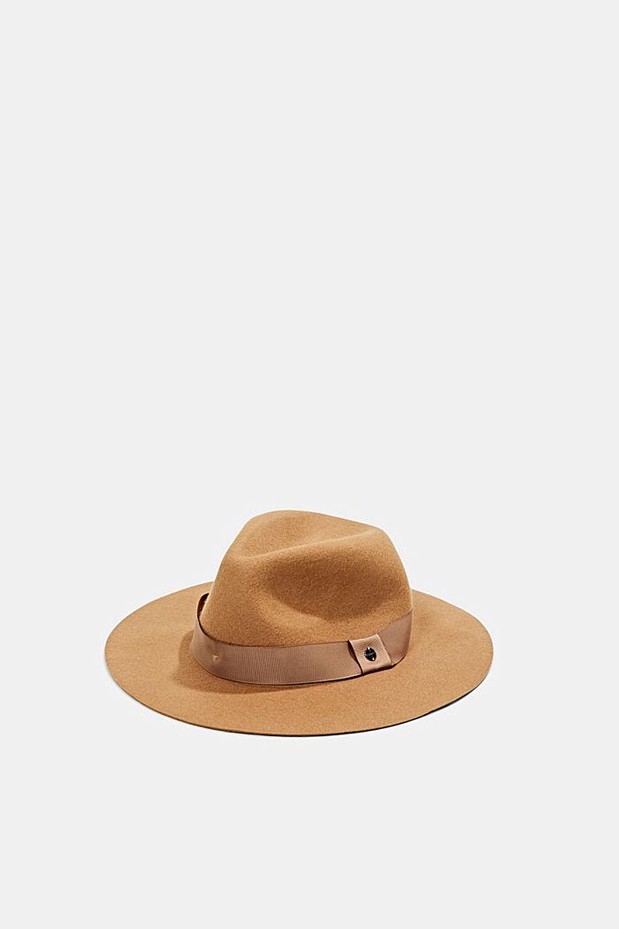 Fedora-Hut aus 100% Wolle, CAMEL, detail image number 0