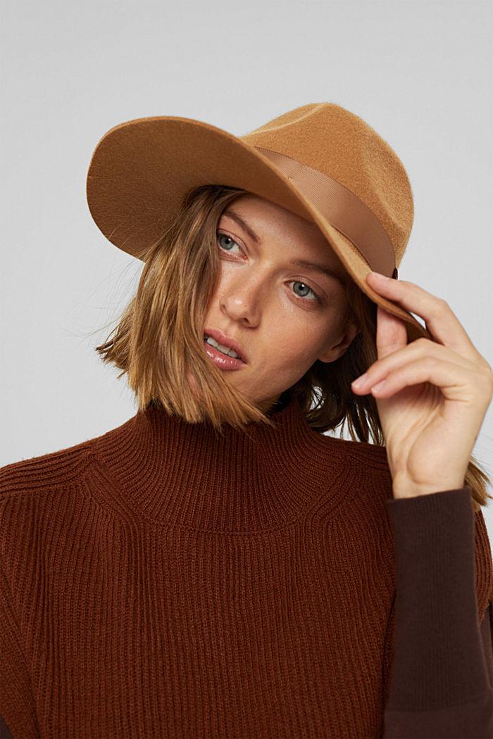 Fedora-Hut aus 100% Wolle, CAMEL, detail image number 3