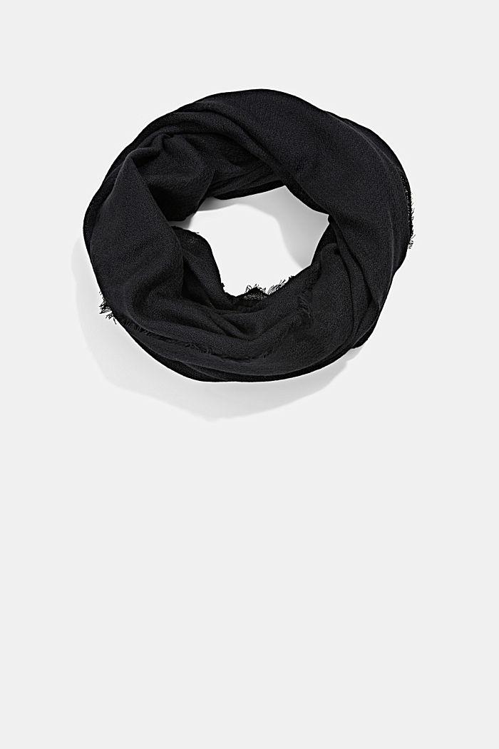 Recycelt: einfarbiger Web-Schal in Loop-Form, BLACK, detail image number 0