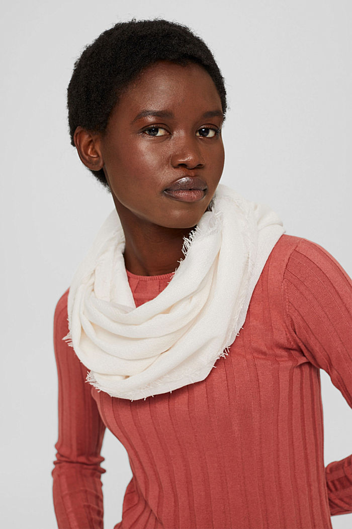 Recycled: plain-coloured woven scarf in a snood design, OFF WHITE, detail image number 1