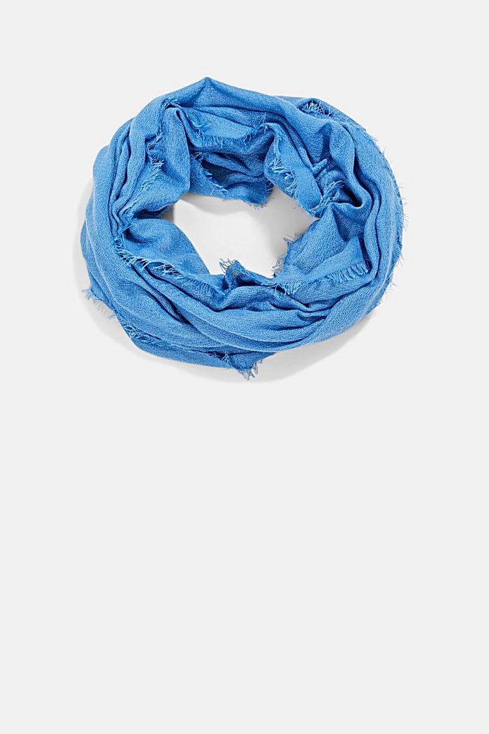 Recycelt: einfarbiger Web-Schal in Loop-Form, GREY BLUE, detail image number 0