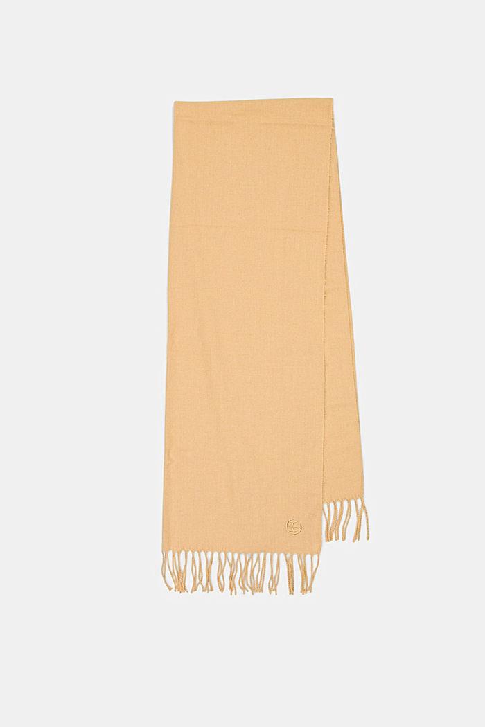Gerecycled: extra zachte geweven sjaal met franjes, KHAKI BEIGE, detail image number 5