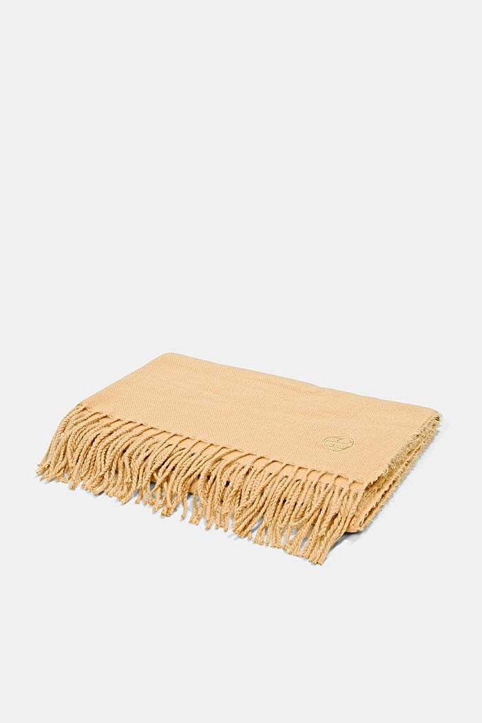 Gerecycled: extra zachte geweven sjaal met franjes, KHAKI BEIGE, detail image number 3