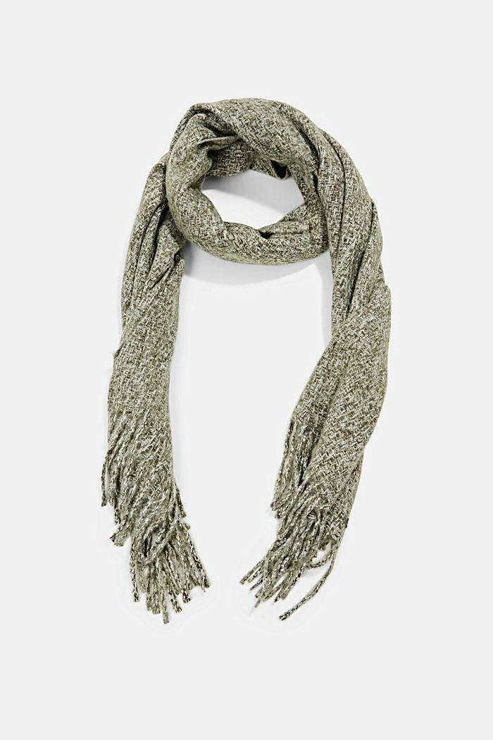 Zachte geweven sjaal met gemêleerde structuur, DUSTY GREEN, detail image number 0