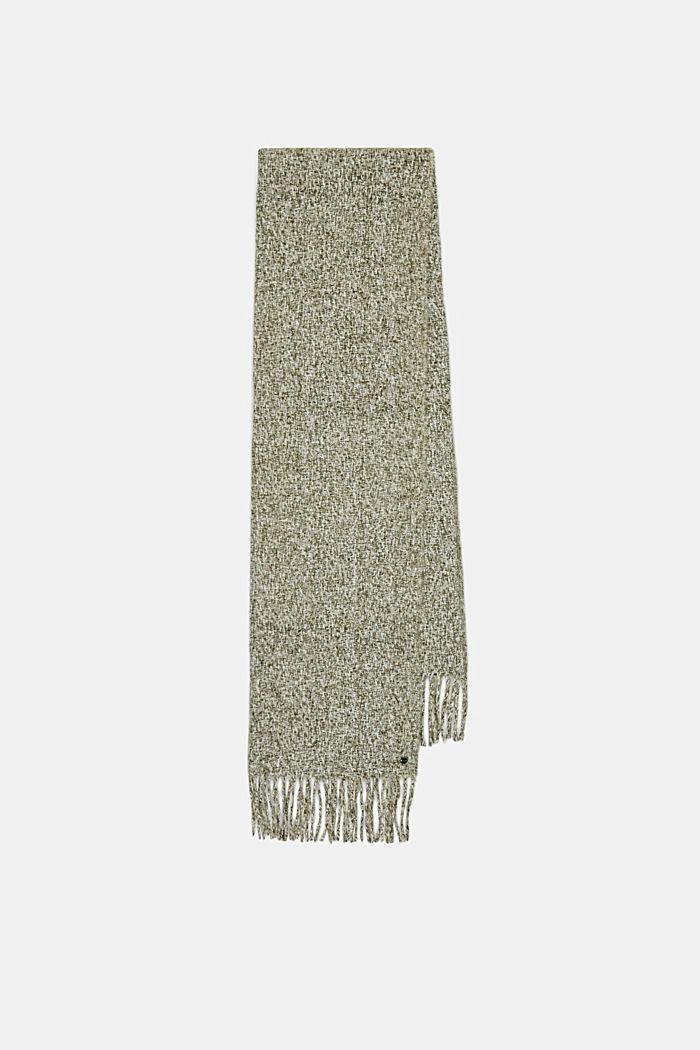 Zachte geweven sjaal met gemêleerde structuur, DUSTY GREEN, detail image number 5