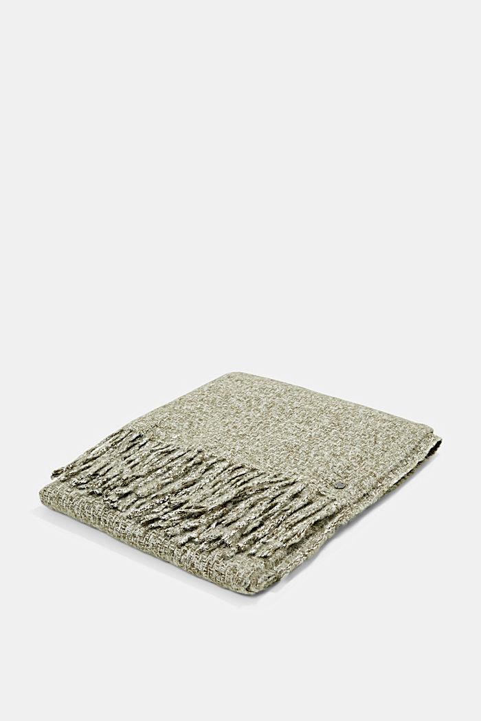 Zachte geweven sjaal met gemêleerde structuur, DUSTY GREEN, detail image number 3