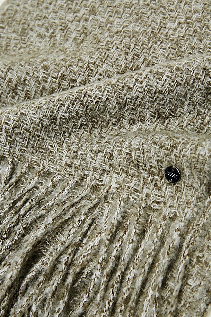 Zachte geweven sjaal met gemêleerde structuur, DUSTY GREEN, detail image number 2