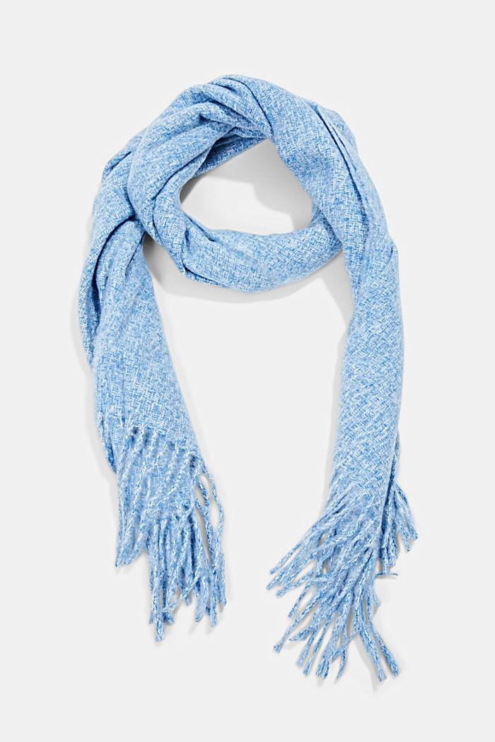 Zachte geweven sjaal met gemêleerde structuur, DARK BLUE, detail image number 0