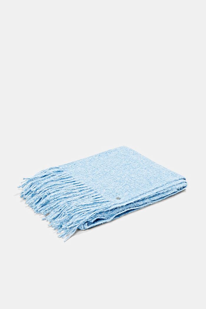 Zachte geweven sjaal met gemêleerde structuur, DARK BLUE, detail image number 3