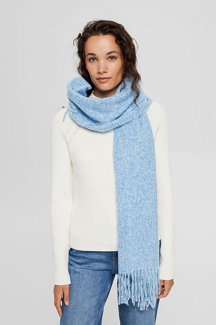 Zachte geweven sjaal met gemêleerde structuur, DARK BLUE, detail image number 1