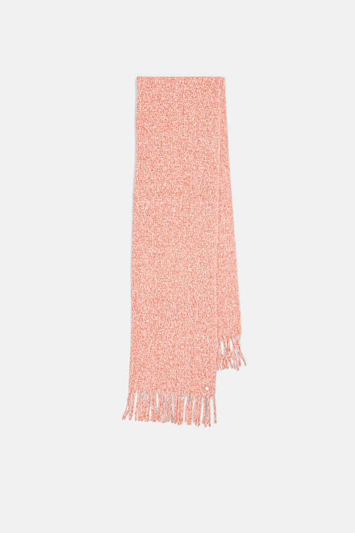 Zachte geweven sjaal met gemêleerde structuur, TERRACOTTA, detail image number 5