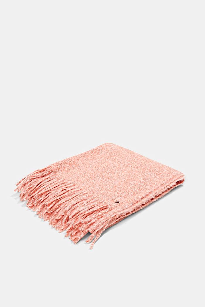 Zachte geweven sjaal met gemêleerde structuur, TERRACOTTA, detail image number 3