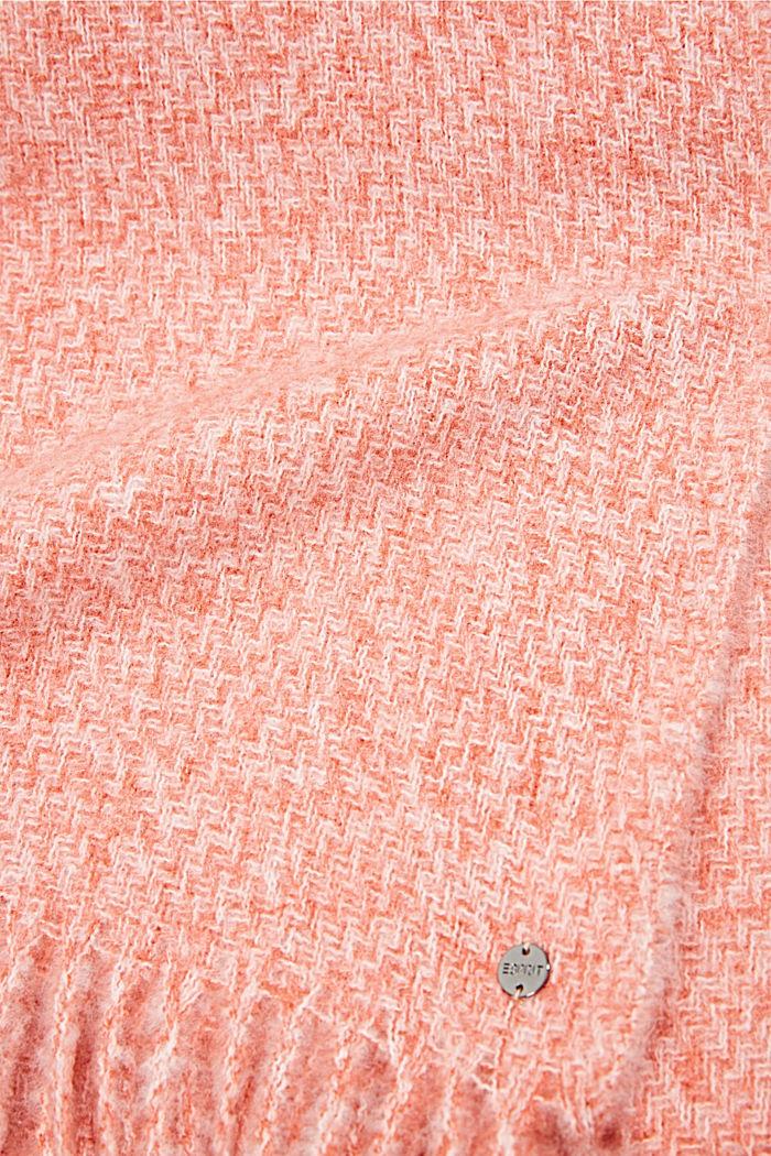 Zachte geweven sjaal met gemêleerde structuur, TERRACOTTA, detail image number 2