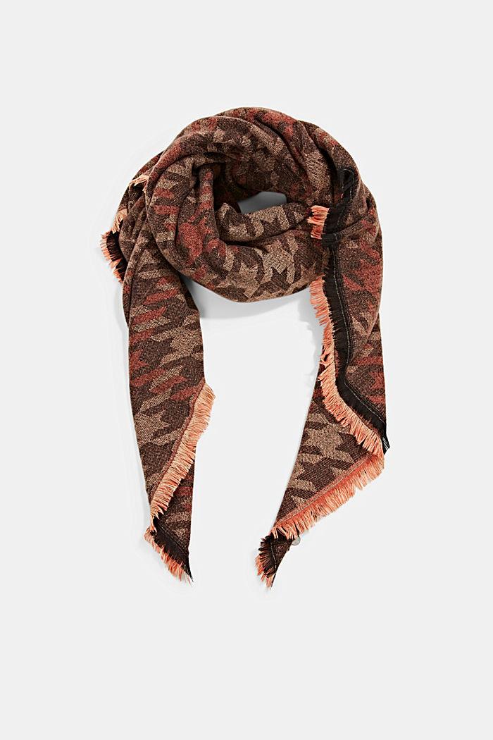 En matières recyclées: le foulard à grand motif pied-de-poule, KHAKI BEIGE, detail image number 0