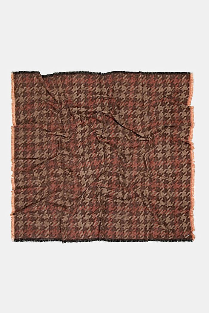 En matières recyclées: le foulard à grand motif pied-de-poule, KHAKI BEIGE, detail image number 4