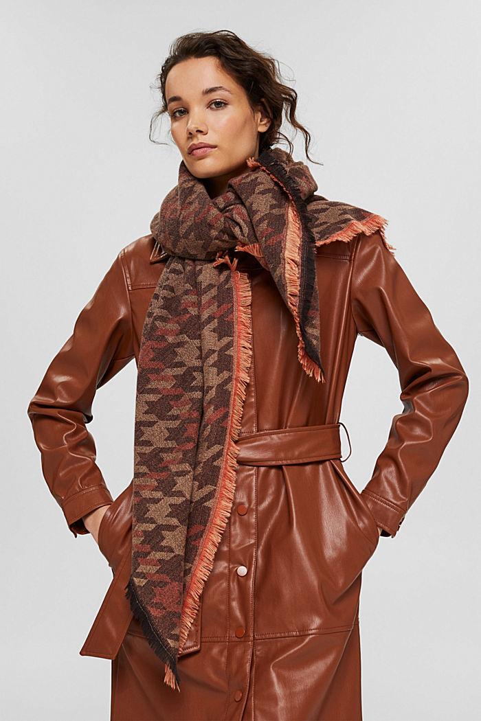 En matières recyclées: le foulard à grand motif pied-de-poule, KHAKI BEIGE, detail image number 3