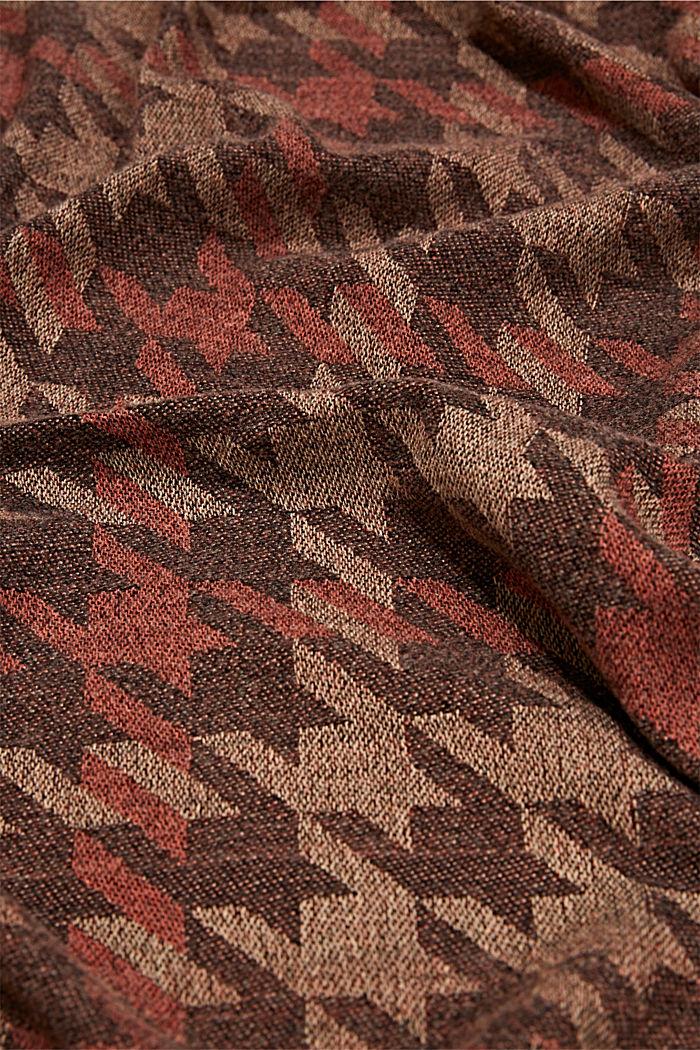 En matières recyclées: le foulard à grand motif pied-de-poule, KHAKI BEIGE, detail image number 2