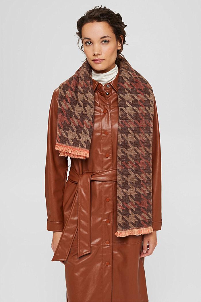 En matières recyclées: le foulard à grand motif pied-de-poule, KHAKI BEIGE, detail image number 1