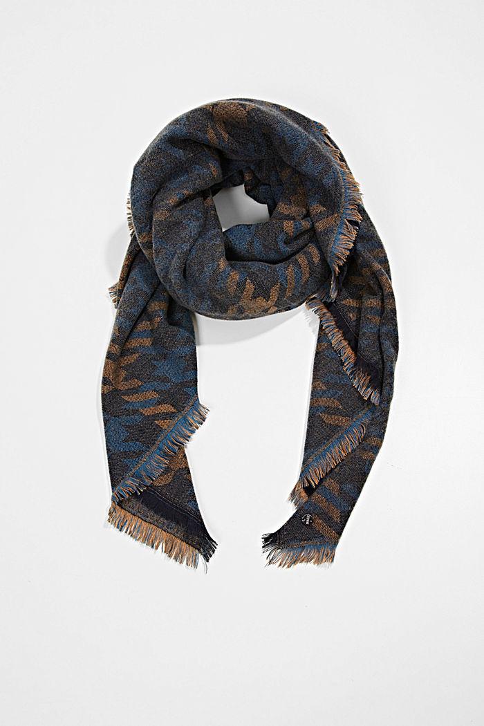 Reciclado: pañuelo grande con diseño de pata de gallo, NAVY, detail image number 0