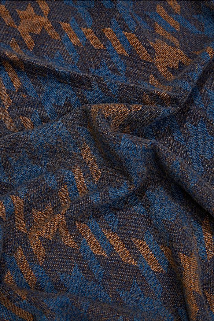 Reciclado: pañuelo grande con diseño de pata de gallo, NAVY, detail image number 2