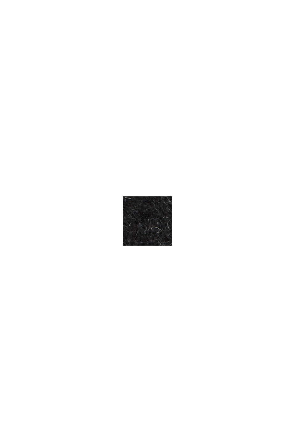 Gerecycled: omkeerbare poncho/cape met franjes, BLACK, swatch