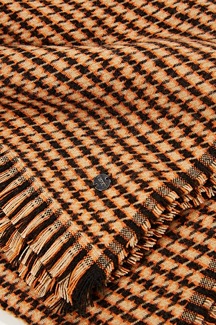 Reciclado: Fular con diseño de pata de gallo, KHAKI BEIGE, detail image number 2