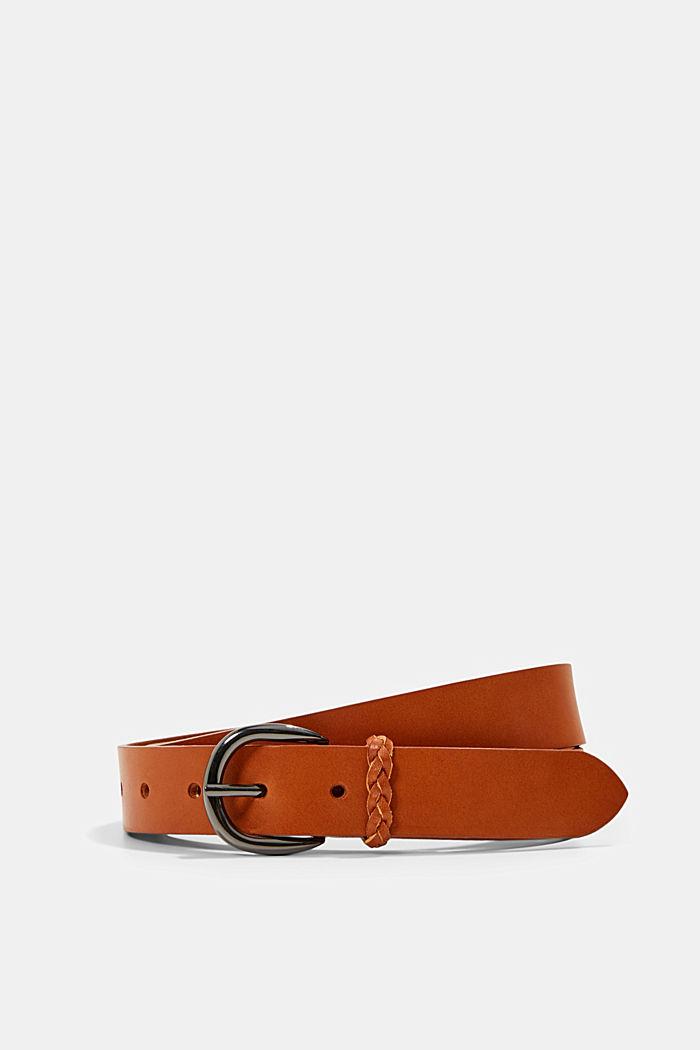 Gürtel aus Leder mit Flecht-Schlaufe, RUST BROWN, detail image number 0