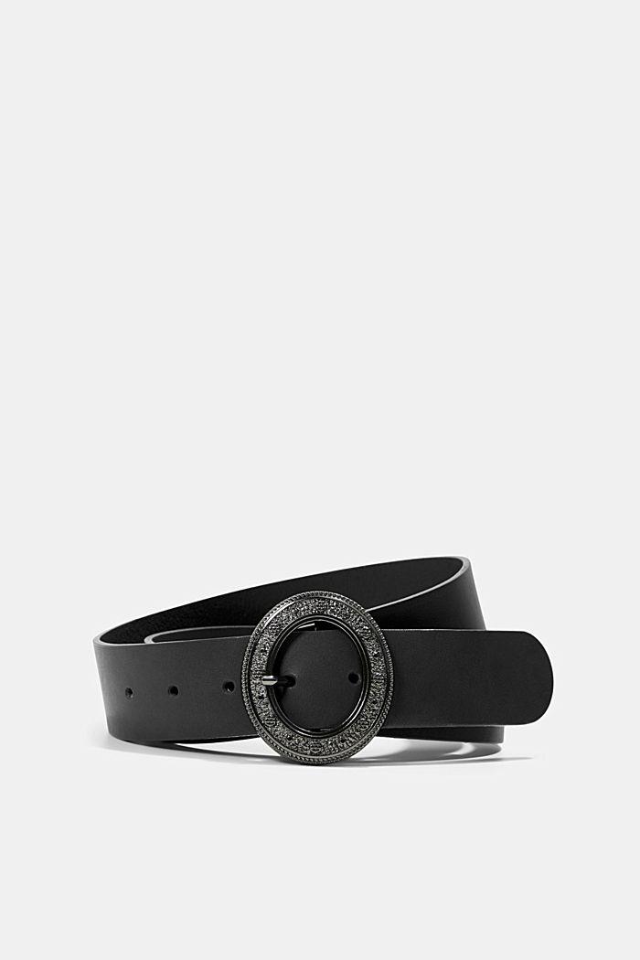 Leather belt with an embellished metal buckle, BLACK, detail image number 0