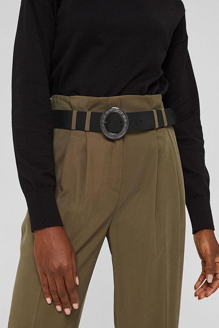 Leather belt with an embellished metal buckle, BLACK, detail image number 2