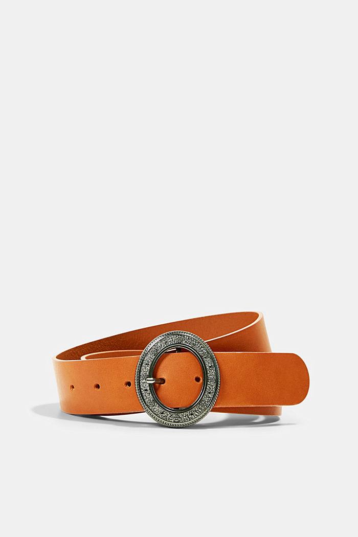 Cinturón de piel con hebilla metálica decorada, RUST BROWN, detail image number 0