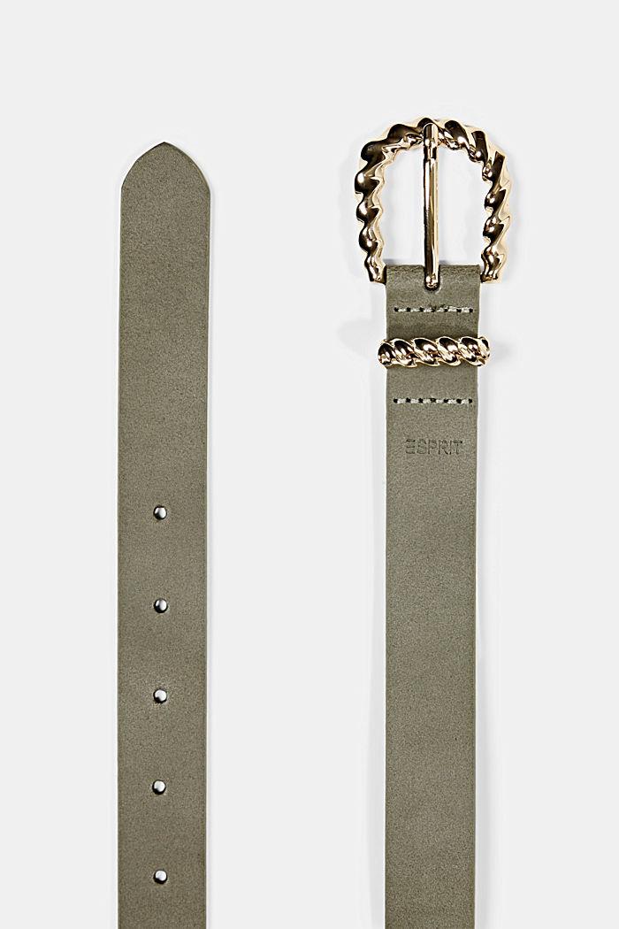 Ledergürtel mit Zier-Schließe aus Metall, DARK KHAKI, detail image number 1