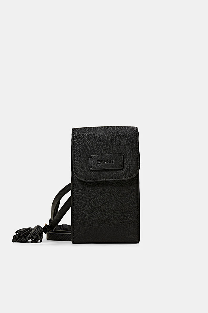 Smartphonetasje van imitatieleer met kwastje, BLACK, detail image number 0