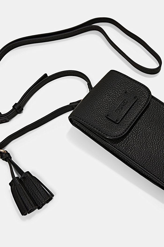 Smartphonetasje van imitatieleer met kwastje, BLACK, detail image number 1