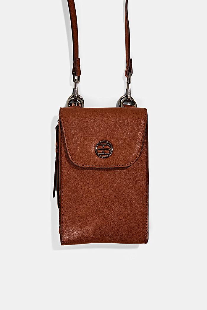 Phone Bag mit Geldbörse in Lederoptik, RUST BROWN, detail image number 0