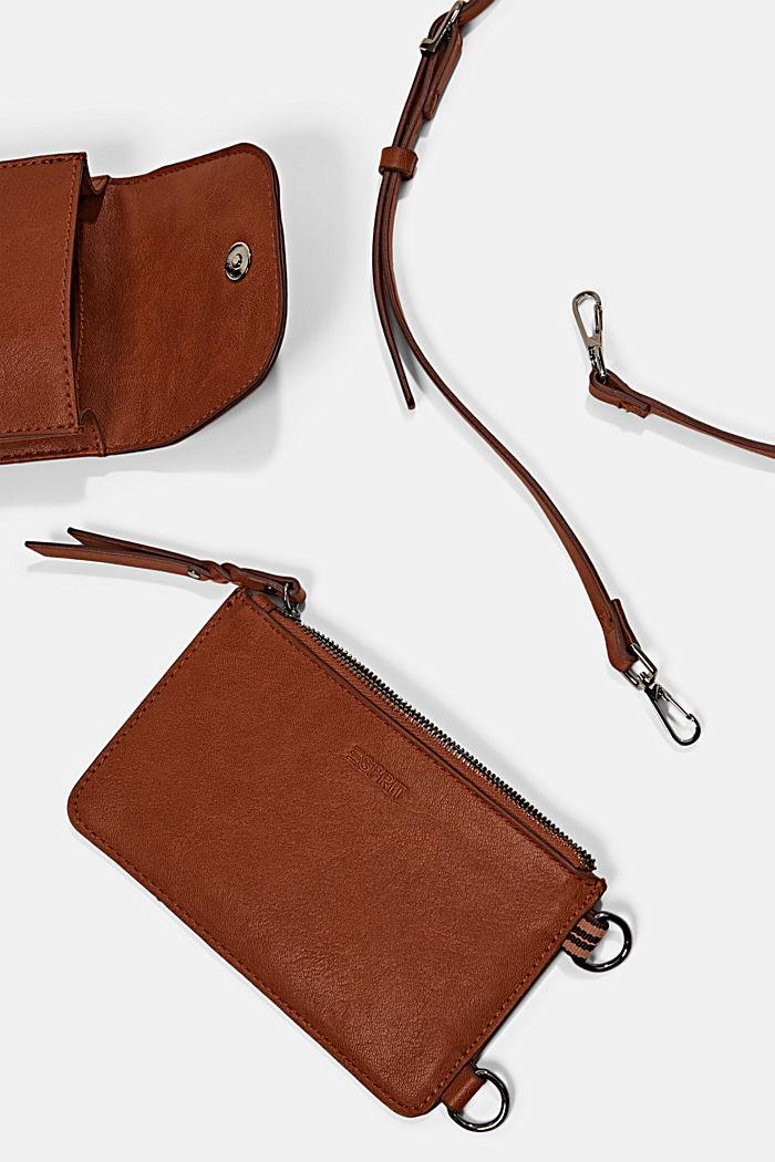 Phone Bag mit Geldbörse in Lederoptik, RUST BROWN, detail image number 3