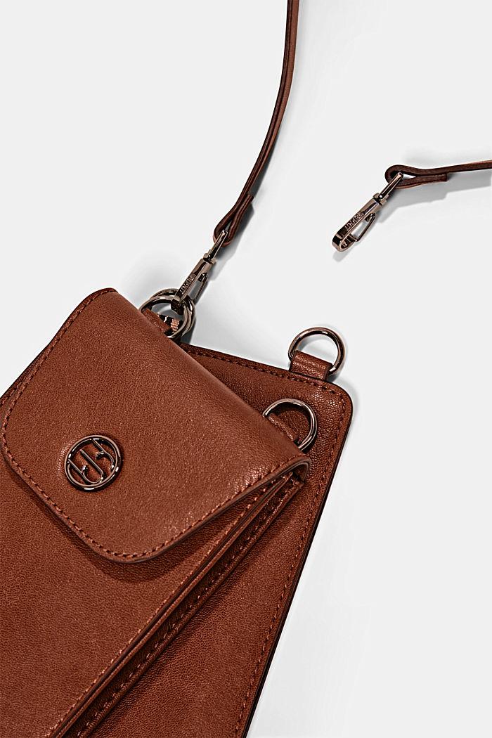 Phone Bag mit Geldbörse in Lederoptik, RUST BROWN, detail image number 1