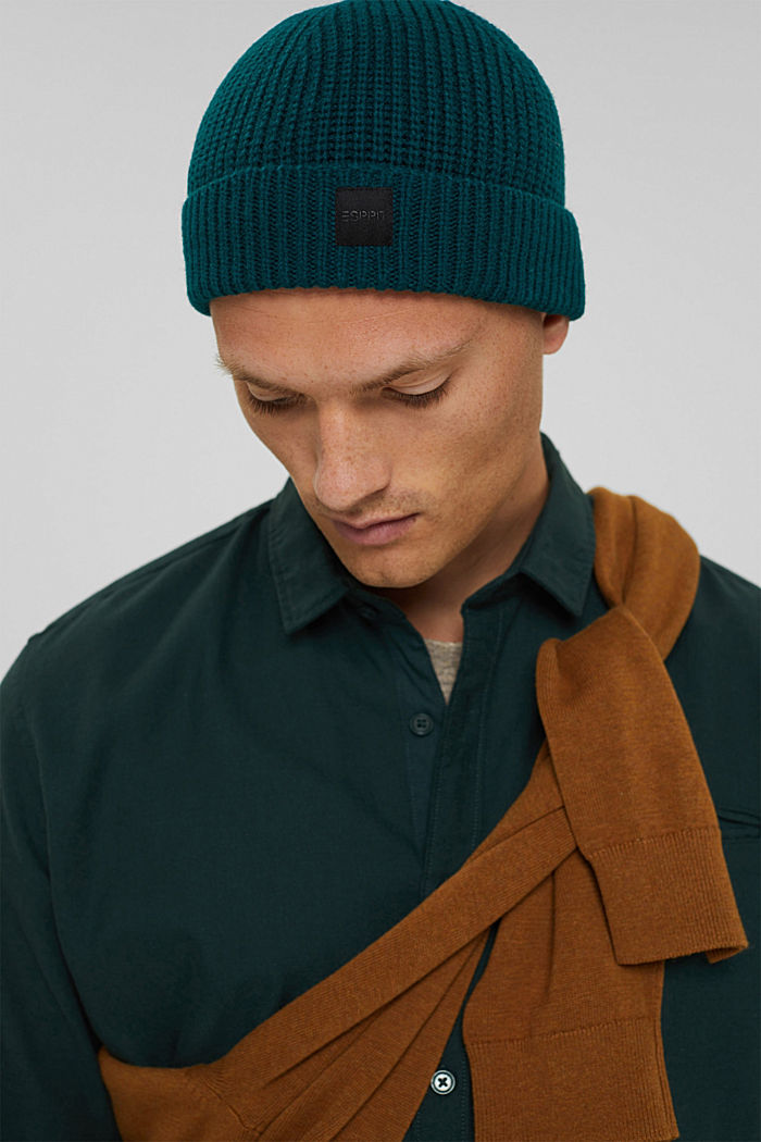 Rippstrick-Beanie mit RWS Wolle