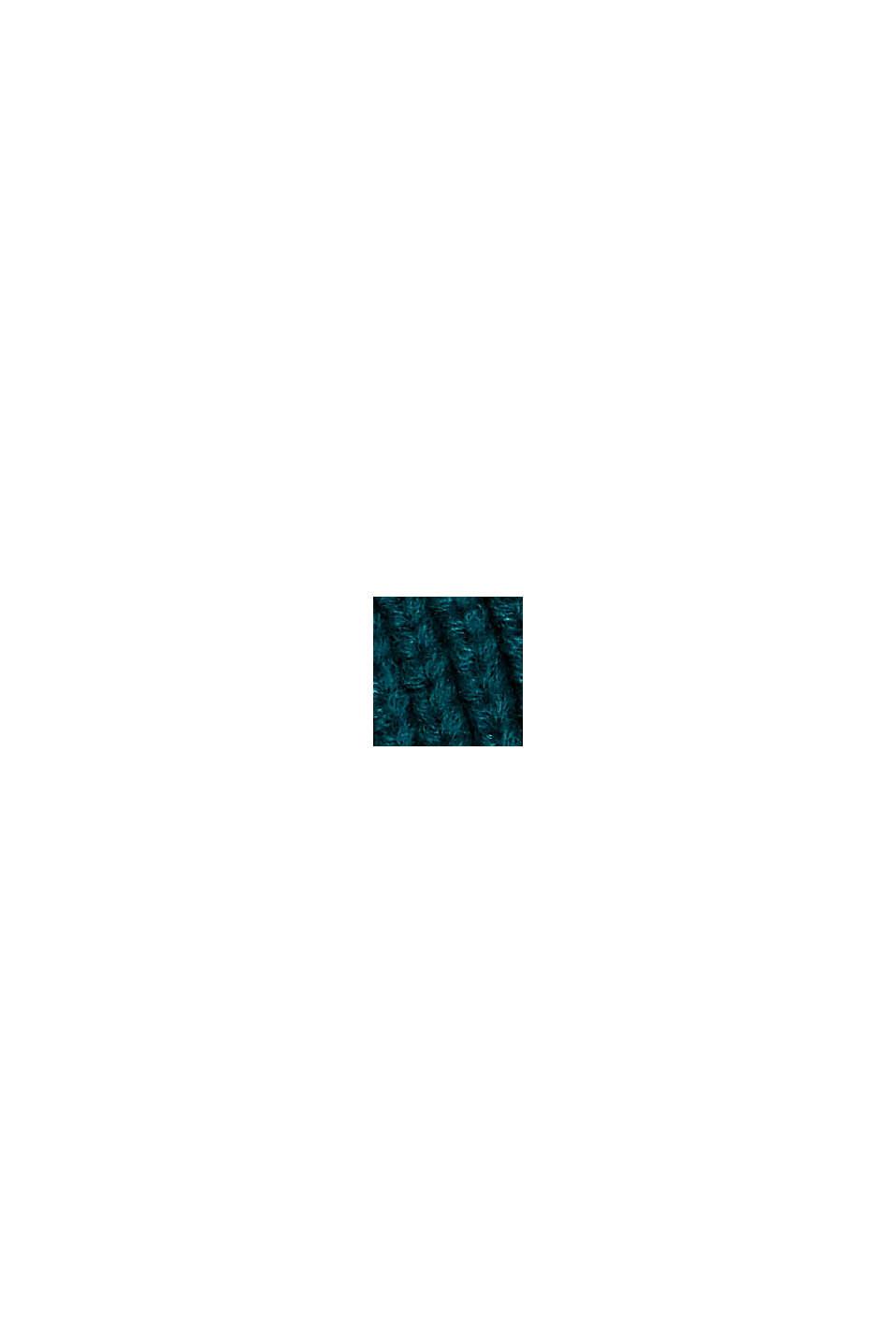 Rippstrick-Beanie mit RWS Wolle, BOTTLE GREEN, swatch