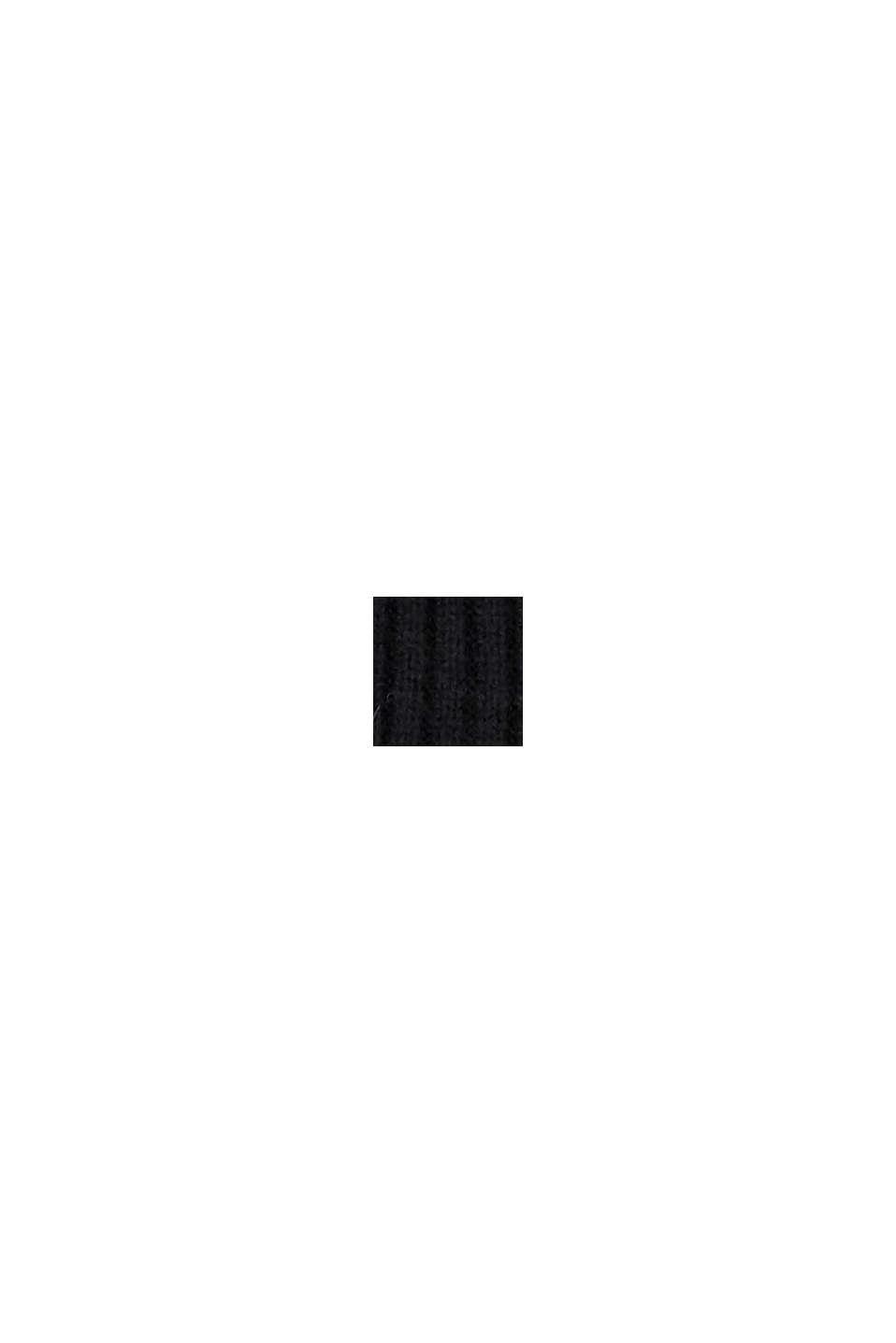 Mit Wolle: Strickschal mit Zipp-Tasche aus Stoff, BLACK, swatch