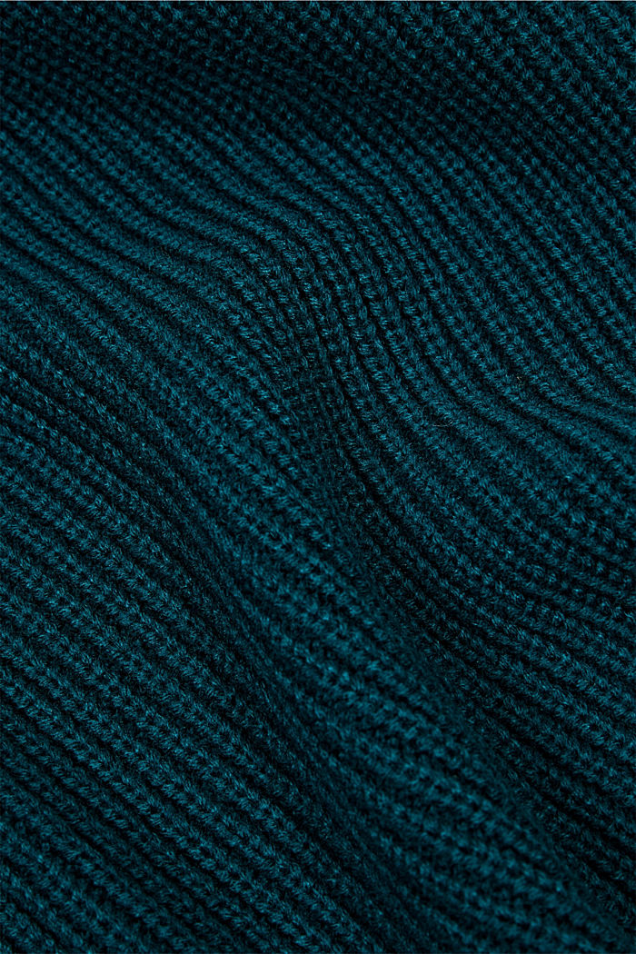 Shawl collar with responsible wool, BOTTLE GREEN, detail image number 2