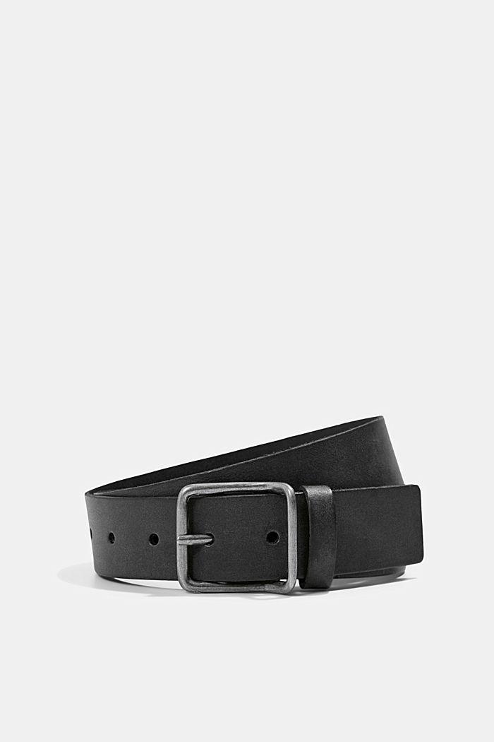 Gürtel aus Leder mit Metallschnalle, BLACK, detail image number 0