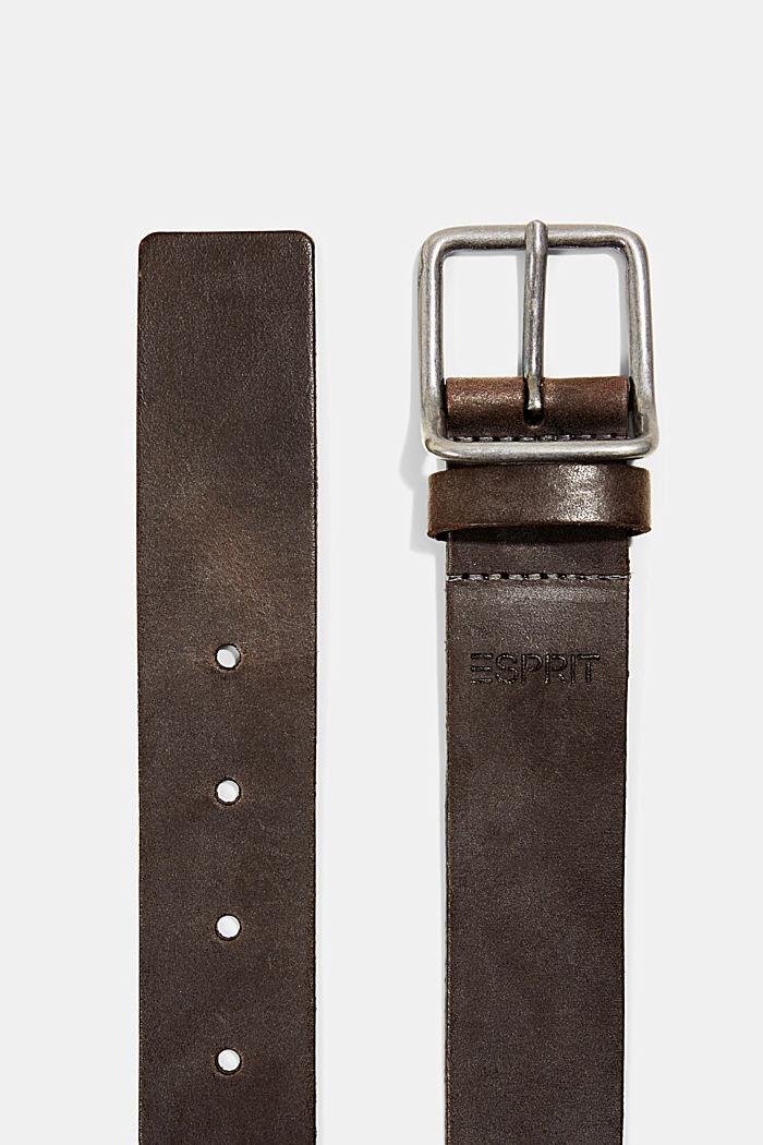Leren riem met metalen gesp, BROWN, detail image number 1