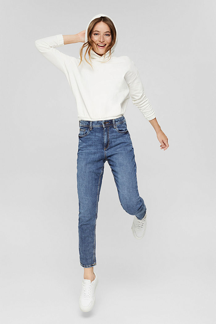 Cropped cotton blend jeans, BLUE MEDIUM WASHED, detail image number 0