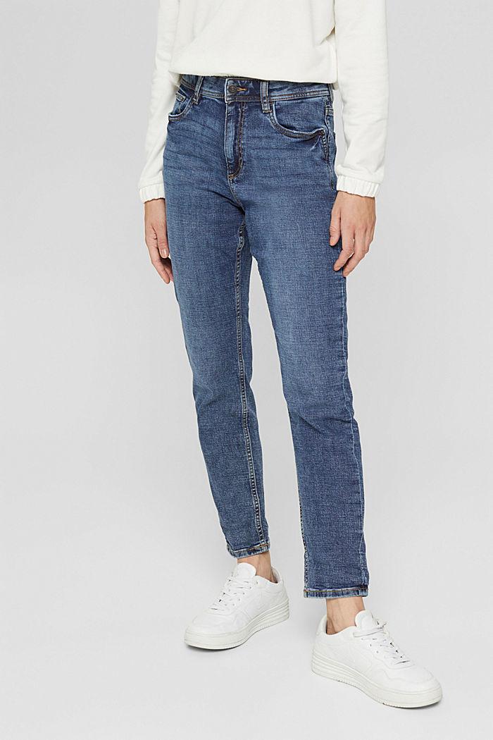 Cropped cotton blend jeans, BLUE MEDIUM WASHED, detail image number 5