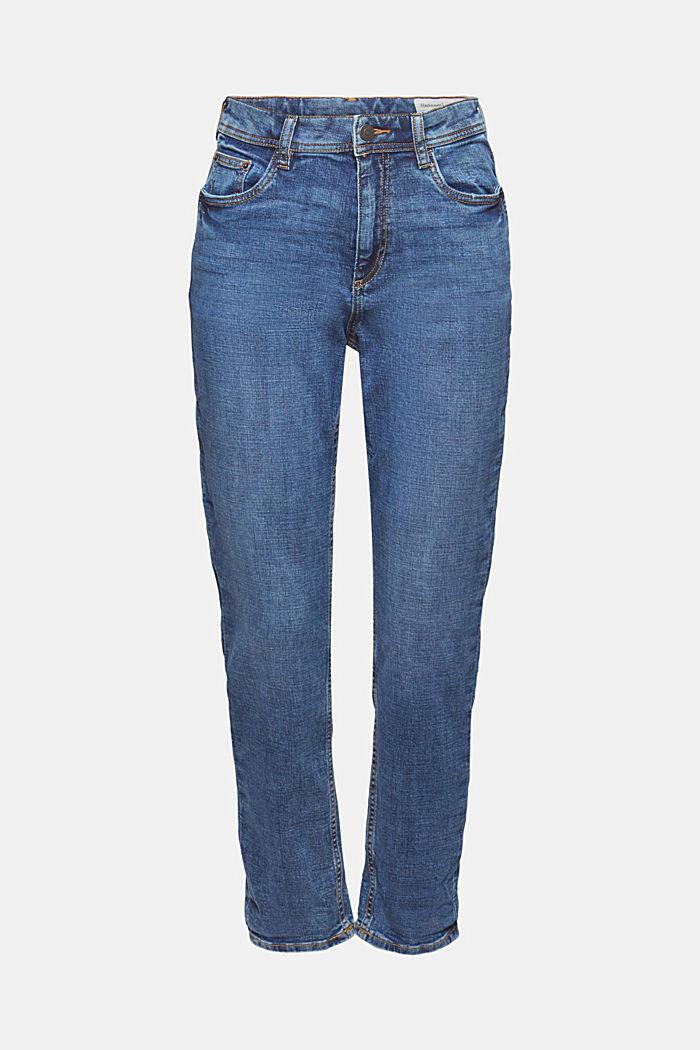 Cropped cotton blend jeans, BLUE MEDIUM WASHED, detail image number 6