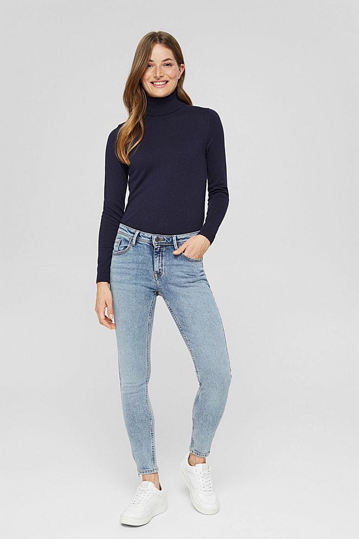 TENCEL™/biologisch katoen: Jeans met ritsen, BLUE LIGHT WASHED, detail image number 1